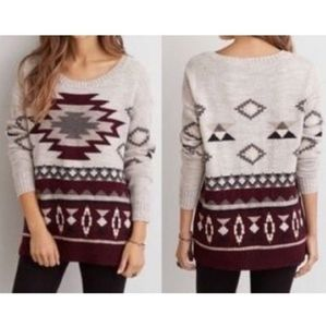 American Eagle Outfitters Aztec Print Wool Blend Crewneck Sweater Medium